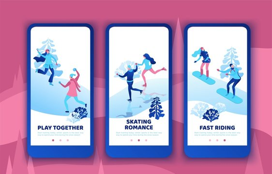 Romantic couple snowboarding together, mobile app template set, vertical layout, ui design, ice skating simple family, isometric minimal people illustration, vector winter sport, skating rink
