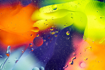 Abstract colorful background. Oil and water drops. Rainbow blurred texture. 3d illustration Wall mural