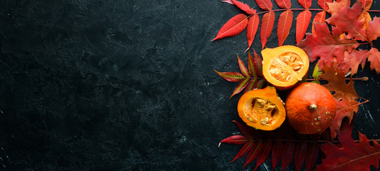Papiers peints Automne Autumn vegetables. Pumpkin with pumpkin seeds and autumn leaves. flat lay. On a black stone background. Top view. Free space for your text.