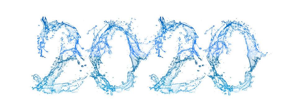 水しぶきで出来た2020の数字