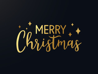 Merry Christmas gold hand drawn lettering. Shine golden xmas text with stars. Luxury Christmas calligraphy. Winter holiday greeting quote for cards, photo overlays, invitations. Vector illustration