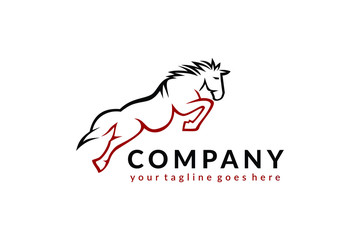 a horse jump vector, animal logo template, horse icon illustration ready to use