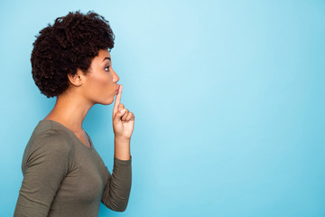 Photo of stylish trendy strict confident black woman showing empty space to stop conversation not...