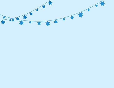 Blue Jewish Background with Jewish Star Bunting Decoration on one Side
