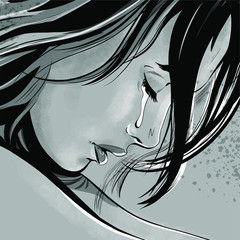 Woman face in profile with tears in her eyes with eyelashes lowered close up, crying girl, illustration in comic style