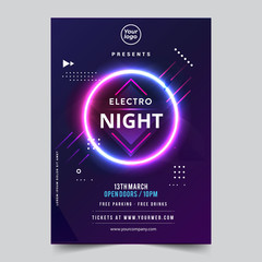 Vector IIlustration Dance Club Night Summer Party Poster Flyer Layout Template. Colorful Music Disco Banner Design. - Vector