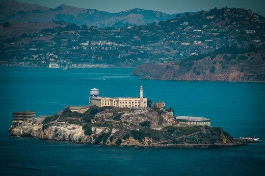 View of Historical Alcatraz Prison Island in San Francisco California from the far