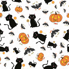 Hand drawn Halloween design with cats, bats, pumpkins and candy treats. Fun seamless vector pattern on subtle spiderweb grey white background. Great for giftwrap, party, invitations, stationery