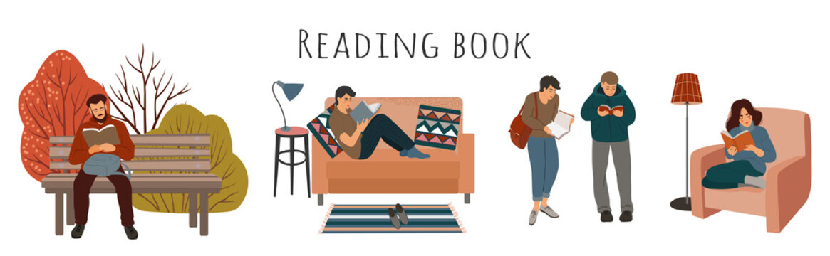 Set of cartoon people reading a book - at home, in an armchair, on a sofa, on the street in public places. Cute vector flat illustration isolated on white background.