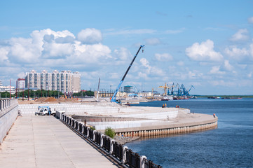Russia, Blagoveshchensk, July 2019: construction of the embankment in Blagoveshchensk in summer