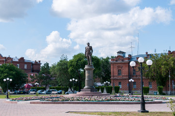 Russia, Blagoveshchensk, July 2019: Monument to count Muravyov-Amursky in Blagoveshchensk on the embankment in summer