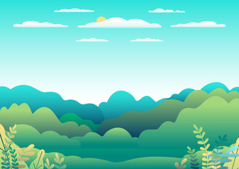 Foto auf Acrylglas Licht blau Hills and mountains landscape in flat style design. Valley background panorama countryside illustration. Beautiful green field, meadow, mountains and blue sky and sun. Rural location, cartoon vector b