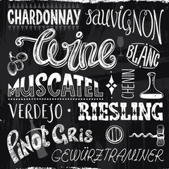 Vintage Decorative Titles Different Sort of Wine in a Chalk Drawn Style