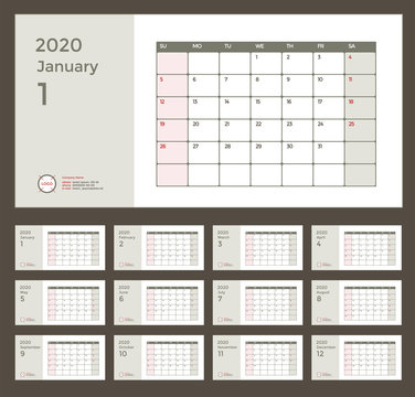 Wall or Desk Monthly Calendar for Year 2020. Vector Design Template with Space for Notes and Corporate elements. Business planner Set of 12 Months. Week starts Sunday