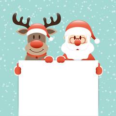 Wall Mural - Rentier Und Weihnachtsmann Halten Schild Schnee Türkis