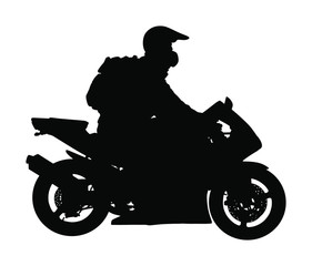 Biker driving a motorcycle rides on asphalt road vector silhouette illustration. Freedom activity. Road travel by bike. Man on motorcycle with helmet silhouette. Boy motorbike rider. Freedom concept.
