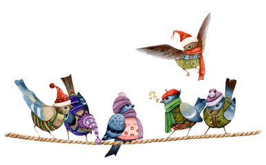 Funny Christmas cartoon dressed birds sitting on the rope in the winter time hand drawn in watercolor isolated on a white background.