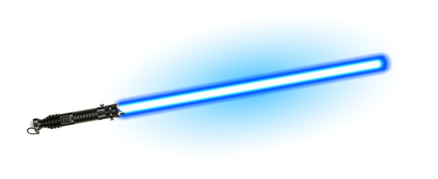 Fantasy Weapon Blue Light Laser Beam Sword Vector. Futuristic Space Shiny Glowing Sword For Battle. Scifi Cosmic Fight Equipment Conceptual Arm Blanche Saber Realistic 3d Illustration