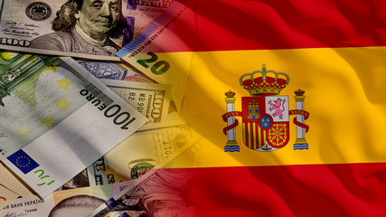 Waving Money and Spain Flag