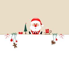 Wall Mural - Quadrat Sitzender Weihnachtsmann Und Icons Beige Weiß