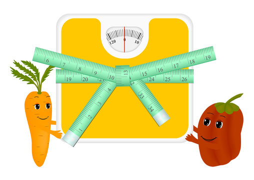 Cartoon carrots and peppers holding a scale with a centimeter tape. Isolated vector