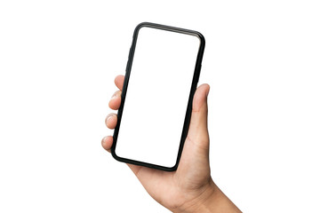 Hand holding smartphone isolated on white background.