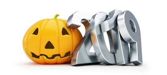 Helloween 2019 on a white background 3D illustration, 3D rendering