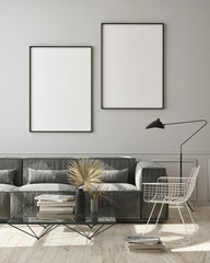 mock up poster frame in modern monochrome interior background, living room, Scandinavian style, 3D render, 3D illustration