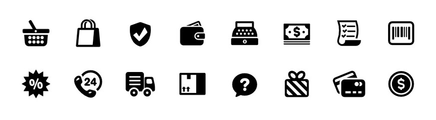 Shopping, Store, and e-Commerce Icon Set (vector icons)