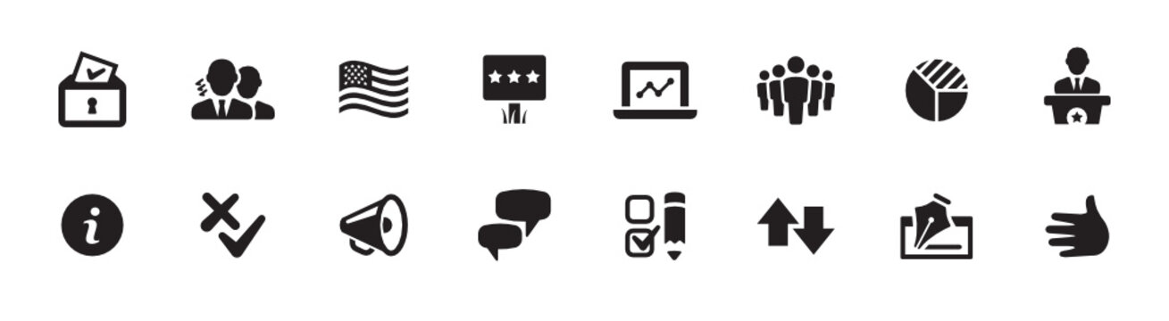 Politics, Government, and Voting Icon Set (vector icons)