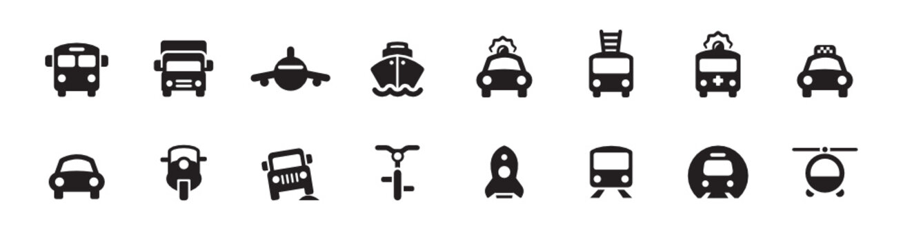 Transportation and Vehicle Icon Set (vector icons)