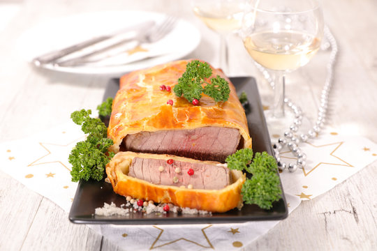 baked beef fillet and dough
