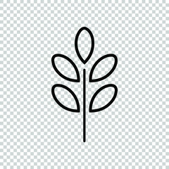 simple line moringa leaves icon design vector isolated on transparent background