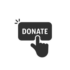 black hand push on donate button