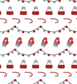 seamless flat pattern with icons of Happy New Year