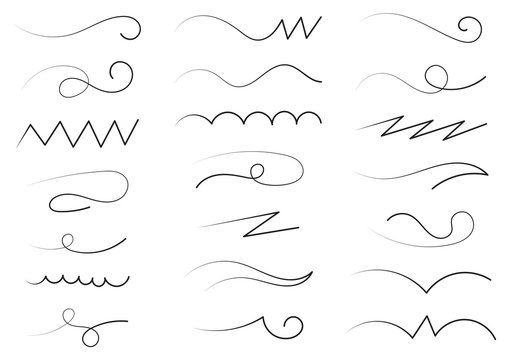 hand drawn different line shapes. free line set