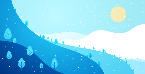 Deurstickers Blauw Winter panoramic landscape background with snow, trees and hills in flat colorful style. Cartoon vector horizontal illustration. Seasonal concept for design banner, card.