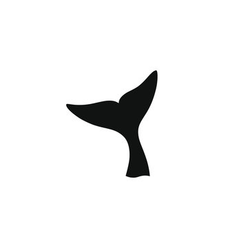Whale tail graphic icon. Whale tail black sign isolated on white background. Sea life symbol. Logo. Vector illustration