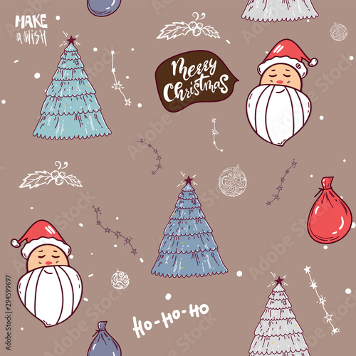 Cute Santa Clauses Tree Lettering Vector Seamless Pattern