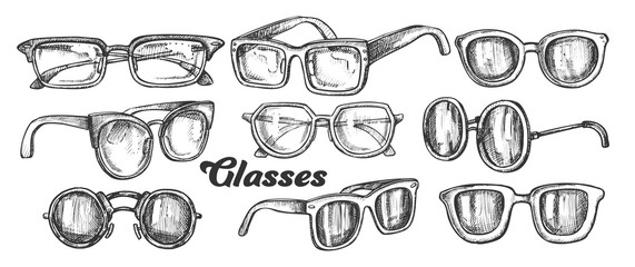 Glasses Fashion Accessory Monochrome Set Vector. Collection In Different Form Glasses. Optical And Sun Protection Eyeglasses Engraving Template Designed In Vintage Style Black And White Illustrations