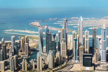 Wall Mural - Aerial view of Dubai Marina skyline and Palm Jumeirah, United Arab Emirates