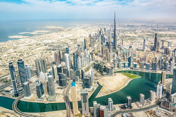 Wall Mural - Aerial view of Dubai skyline, United Arab Emirates