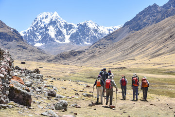 A group of trekkers on the Ausungate trail in the Peruvian Andes