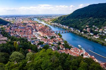 Aerial view, Heidelberg Castle and Old Town of Heidelberg with Neckar, Baden-Wuerttemberg, Germany,