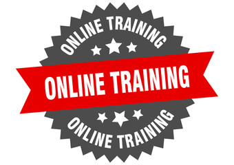 online training sign. online training red-black circular band label