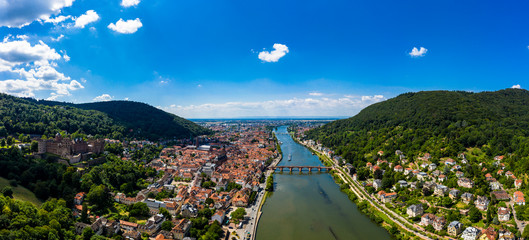 Aerial view, Heidelberg Castle and Old Town of Heidelberg with Neckar, Baden-Wuerttemberg, Germany,