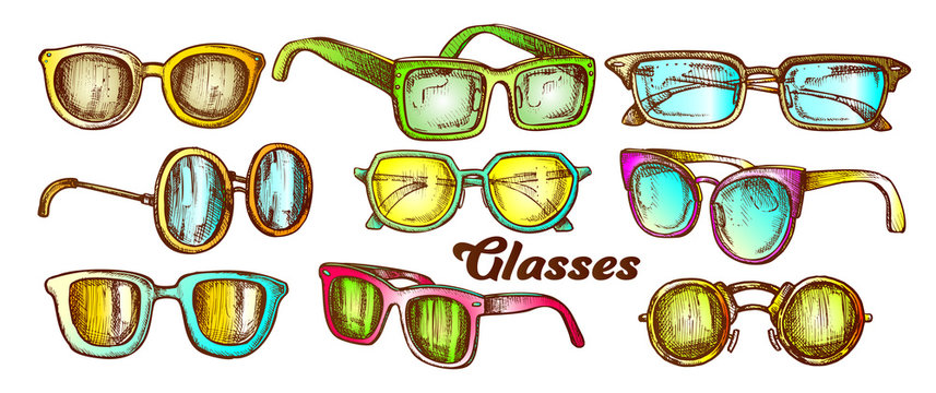 Glasses Fashion Accessory Color Set Vector. Collection In Different Form Glasses. Optical And Sun Protection Eyeglasses Engraving Template Designed In Vintage Style Illustrations