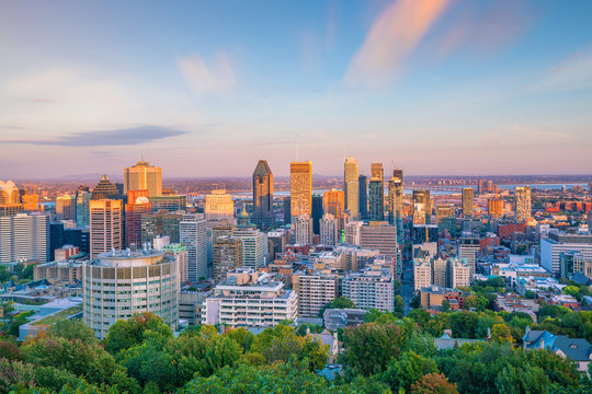 Montreal from top view at sunset in Canada