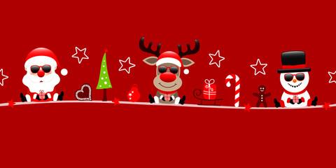 Wall Mural - Banner Weihnachtsmann Rentier Und Schneemann Sonnenbrille Mit Icons Rot