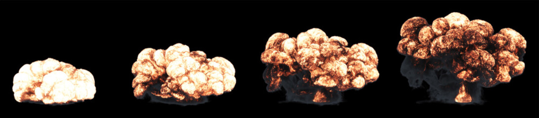 Fiery explosion on a black background. A set of pictures. 3D rendering.